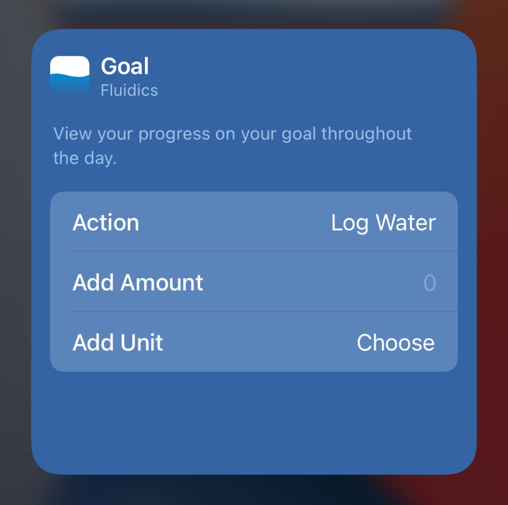 Screenshot of the widget editor, showing a choice of actions, and a customizable amount to add when tapped.