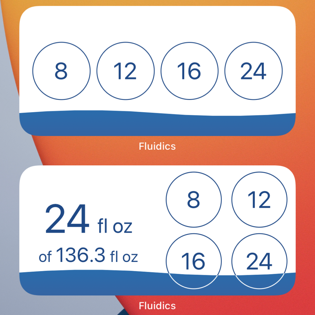 Screenshot of the iOS 14 'add' widget, showing the four quick add options, and the iOS 14 'status' widget, showing current status and the four Quick Add options.